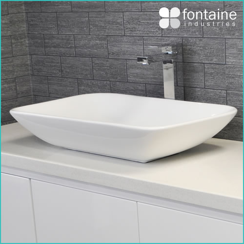 Above Counter Basin Bathroom White Ceramic Modern Large
