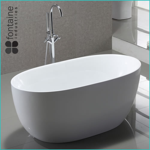 Freestanding Bath 1400 Compact Acrylic White Round Modern