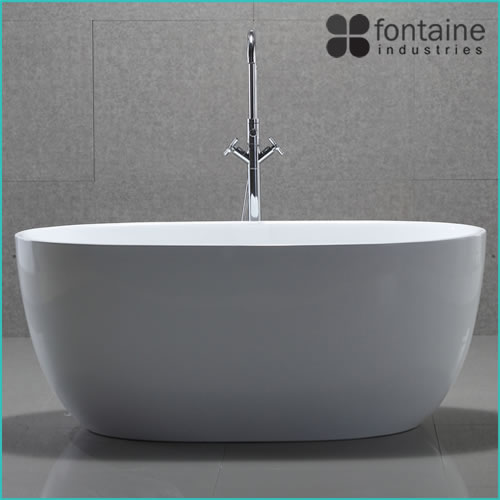 Ariana freestanding bath 1300 compact acrylic white round for Small baths 1200
