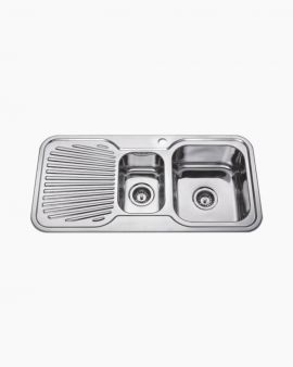 Chloe Double Square Kitchen Sink with LHS Drainer